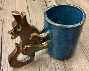 Handmade Howling Wolf Mug