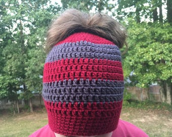 Ready To Ship Messy Bun Gray and Burgundy Messy Bun Crochet Hat Beanie Women's Crochet Hat Winter Accessories Gifts For Her