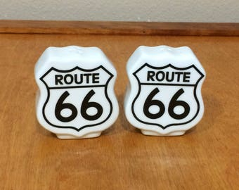 Route 66 Ceramic Salt and Pepper Shakers