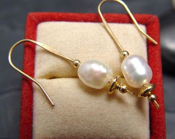 Pearl Earring Dangles on 14K GF Classicn Now REDUCED 10.00