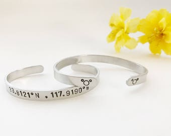 Happiest place on earth cuff, coordinates, mickey, mouse, stamped bracelet