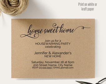 Housewarming invitation,Home Sweet Home invite, Printable templates, Instant download self editable pdf A608