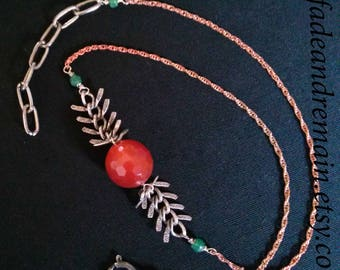Delicate layering necklace. carnelian red. aventurine gemstone. silver spine bones. short necklace. pagan jewelry. crystal chakra jewelry