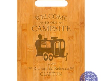 Personalized Double Wheel Camper Cutting Board 11.5 x 8.75 - Welcome to our Campsite Bamboo Custom Engraved Cutting Board - Camping