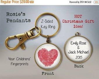 Valentine Fingerprint Key Chain Heart - Your Children's Fingerprints as a Heart - Custom Fingerprint Jewelry - Fingerprint Heart