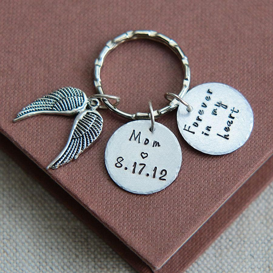 mother memorial keychain forever in my heart keychain mom memorial