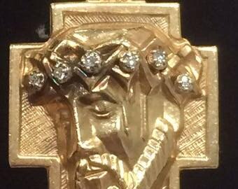 Vintage 14K Yellow Gold Large Diamond .18 CTW CHRIST HEAD Charm