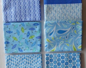 Summer Sale- Rainy Day by Moda Cotton Fabric, Fat Quarter Bundle of 7~Grp #3-Blue~Fast Shipping Fq688