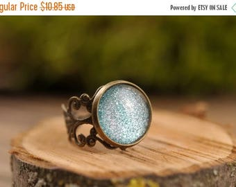 20% OFF Filigree stardust ring, adjustable ring, statement ring, antique brass ring, glass dome ring, antique bronze ring, jewelry gift for