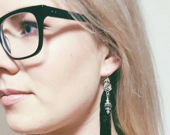 Black tassel convertible earrings