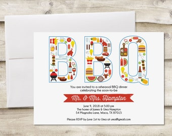 Rehearsal Dinner BBQ Invitation, BBQ Rehearsal Dinner Invitation, Invitation to BBQ, Invitation to Barbecue, Couples Shower Barbecue Invite