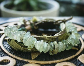 Moss Prehnite Chip Sari Silk Wrap Bracelet, Green Gemstone Wrap Bracelet, Free Trade Bracelet, Recycled Bracelet, Garden Inspired Bracelet