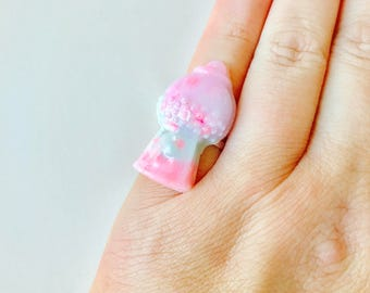 Pastel Swirl Gumball Machine Resin Adjustable Ring
