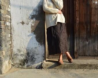 921---Women's Tussah Wool Blend Skirt, Fall Maxi Skirt, Pencil Skirt, Made to Order.