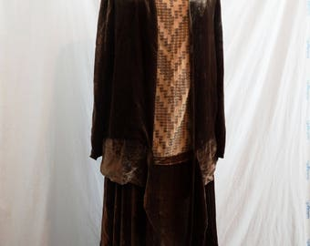 1920s 2 Piece Embroidered Silk Flapper Dress and Velvet Jacket Set Metallic Embroidery Zig Zag Dress June Rowlands Gowns