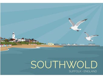 Southwold, Suffolk, England, UK - signed travel poster print A1