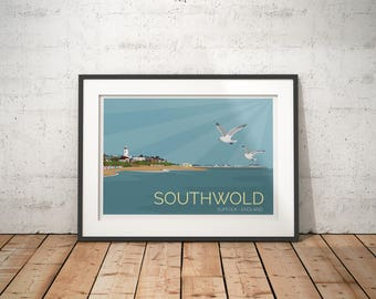 Southwold, Suffolk, England, UK - signed travel poster print