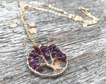 Garnet Tree of Life Pendant Necklace