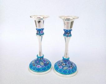 Passover Gift blue candle stick holders, Bat Mitzvah gift Shabbat candlesticks,  Modern Judaica, Candlestick holders
