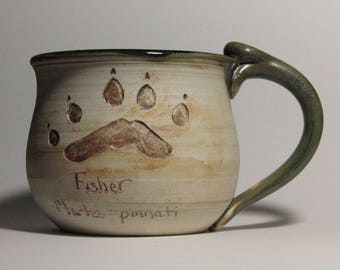 Wildlife Paw Print Mug-Pacific Fisher
