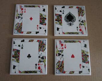 SET OF 4, square suits cards tiles, coasters, vintage condition, mailed from Canada