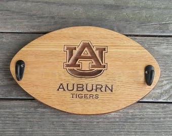 Handcrafted Auburn Tigers Wood Coat and Hat Rack