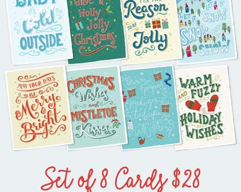 HOLIDAY CARD SET. Set of 8 Christmas cards. Festive cards for friends, extended family, relatives, workplace, loved ones, community.