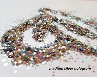 glitter - medium silver hologram polyester