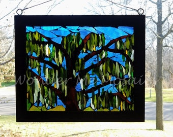 Stained Glass Mosaic - Weeping Willow at the Lake