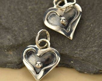 Dotted Heart Charm Sterling Silver Heart Charm Dangle, Heart With Dot Charm, Silver Heart Dangle, 13x9mm