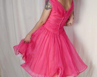 Barbie pink 1950s silk organza prom frock