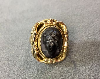 Victorian Revival Relief Black Cameo Ring.  Free shipping