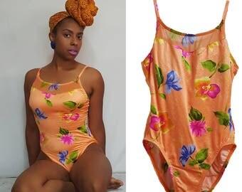 Vintage 90s Swimsuit/Bathing Suit/Floral/Onepiece