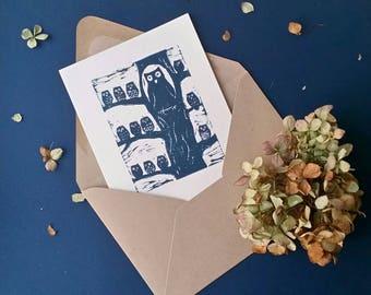 Hooting Owl Greeting Card, Birthday, Baby Shower, Thank You, Congratulations, handmade Linocut Print