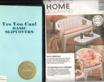 Lot of 2 Basic Slipcover VHS Video & McCalls 7113, Chair/Bench/Pillow Cushions/Home Decorating pattern