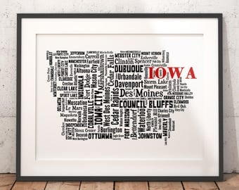 Iowa Map Art, Iowa Art Print, Iowa City Map, Iowa Typography Art, Iowa Wall Decor, Iowa Moving Gift