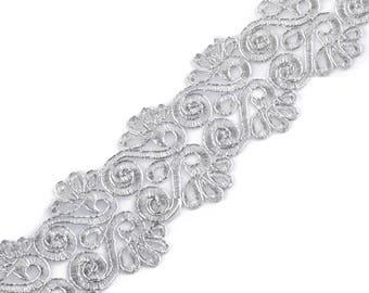Ribbon lace embroidery silver lurex 180821 7 cm