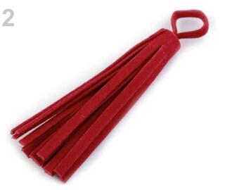 4 75 mm red leather fringe tassel