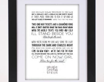 Bruce Springsteen 'Two For The Road' Printed Lyrics Poster - available in A4 and A3 // Gift Ideas // Rock // Typography