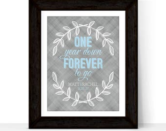 First Anniversary Gift for Husband Wife Couple | One Year Down Forever to Go | Paper Wedding Anniversary for him her | DIY, Print, Canvas