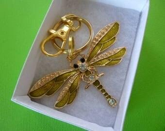 Large Vintage Rhinestone Bling Dragonfly Key Chain, Bling Rhinestone Dragonfly Purse Charm, Vintage Bling Dragonfly Zipper Pull, K58