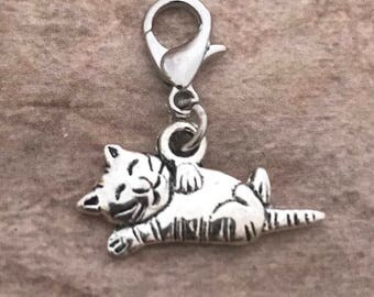 Cat charm dangle for floating lockets