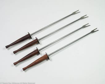 Vintage lemon forks with teak handles, mid century shish kebab holders, stainless fruit kebab holders, MCM fondue forks with wood handles