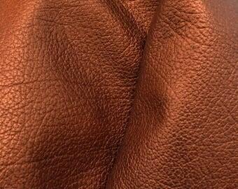 "Metallic Burnished Copper Leather Cow Hide 4"" x 6"" Pre-cut 2-3oz grainy DE-66240 (Sec. 3,Shelf 5,B,Box 4)"