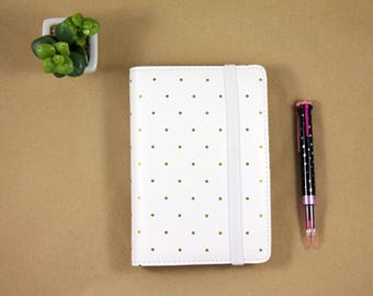 Agenda planner 2018, 6 ring planner binder, planner organizer A6 white and gold polka dots with elastic