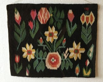 Flemish handwoven  wall hanging with multi color flowers from Scandinavian Sweden 1960's.