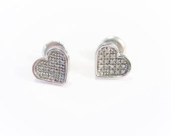 Vintage Sterling CZ Heart Stud Earrings