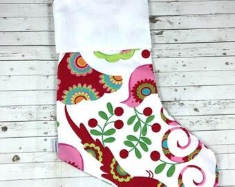 Handmade high quality Christmas Stocking | HTV Blank | DIY stocking | Embroidery Blank | christmas birds | Ready To Personalise | designer