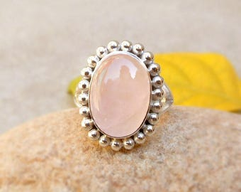 Rose Quartz Ring, Cabochon Ring, Sterling Silver Ring Pink Rose Ring, Women's Jewelry, Pink Stone Ring, Quartz Ring, Oval Bezel Ring