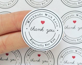 30 Handmade With Love Stickers Especially For You Stickers Thank You Stickers Round Matte Labels Packaging Stickers (AC5)
